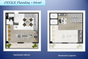 Planta tipo office 66m2, Empreendimento Horizonte